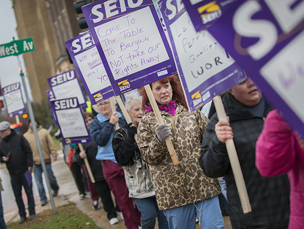 Maintenance workers from Mayo Clinic Health System in Albert Lea picketed outside of the hospital Monday to highlight proposals brought forward by the hospital during contract negotiations that a number of employees said could harm workers, the hospital and the community. - Colleen Harrison/Albert Lea Tribune