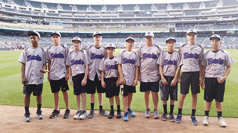 The Knights baseball 13AAA team was invited to attend the Minnesota Twins game on June 22 and walk the field in a pregame ceremony at Target Field as part of the MYAS Parade of Champions. The team was invited to attend this event in recognition for their 1st place finish in a MYAS tournament in Mankato June 20-22. From left, Javarus Owens, Caden Jensen, Markus Dempewolf, Jake Weseman, Joe Flores, Blake Ulve, Trevor Ball, Caden Gardner, Jack Jellinger and Ethan Ball. provided