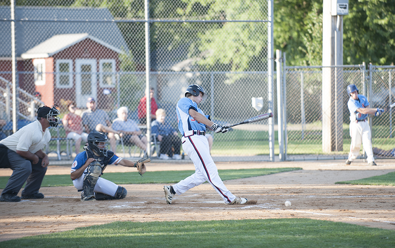 Albert Lea's Jake Thompson hits a ground ball to first base in the first inning during Tuesday's game against the Rochester A's.