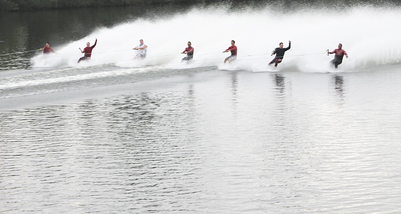 """More than 30 members of the Bayside Water Ski Show Team of Albert Lea traveled to Eagle Lake in Evansdale, Iowa over the weekend to compete in the Midwest Regional Waterski Show Tournament. Eight teams from Minnesota, Iowa and South Dakota participated in two divisions. The Bayside team finished second in Division 2 competition. In addition, the Bayside Barefoot Line received an award for the highest scoring barefoot act in their division, for their six-person """"Barefoot Train."""" Provided"""