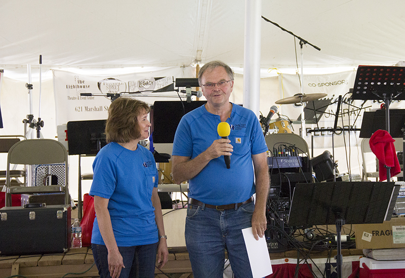 Fleet Farm Supply owners Mary and Steve Nelson discuss their business and the contributions it has made to their family Wednesday at the Freeborn County Fair. - Sam Wilmes/Albert Lea Tribune