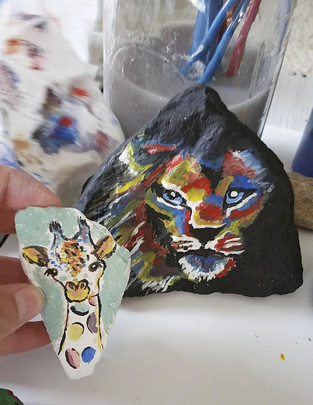 Many of Olson's first rocks painted as part of Albert Lea Rocks featured animals. -Provided