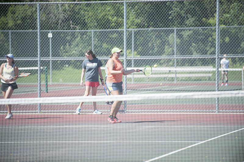 Albert Lea's Sara Kabrud returns a serve during Monday's practice at Albert Lea High School.