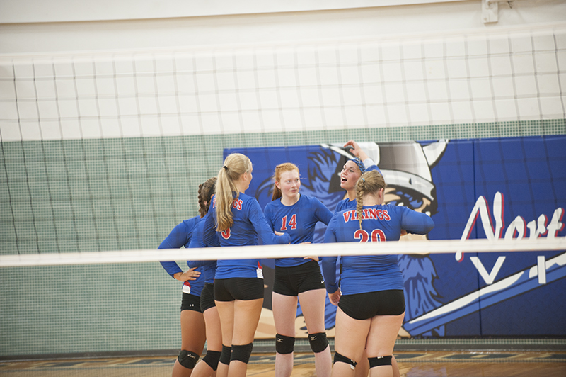 The Vikings huddled up before the second set of their match against the Wildcats. Northwood-Kensett defeated Riceville, 3-0, Tuesday night in Northwood.