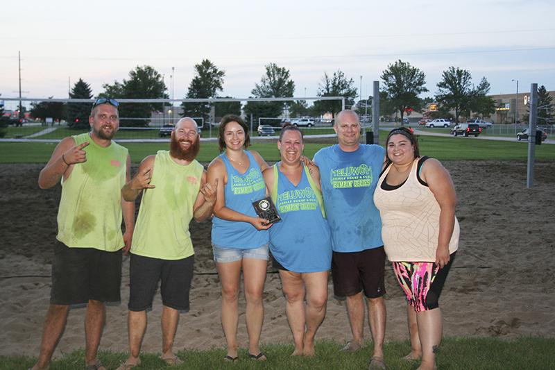 The Bumpin' Uglies won the Co-Ed C League volleyball championship. From left, are Travis Nelson, Josh Semrau, Tashina Dodge, Nicole Semrau, Matt Peterson and Janet Rodriguez. In memory of Jakob Osborne.