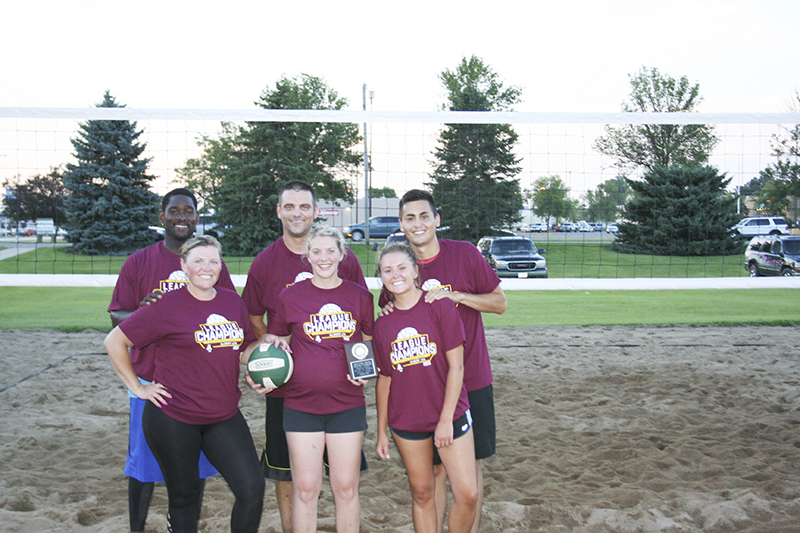 The Family Dental volleyball team won the Co-ed B League volleyball championship. In front row, from left, are Heather Johnson, Dawn Gulbrandson and Kelly Kaasa. In back row, from left, Franck Johnson, Eric Gulbrandson and Jace Talamantes.