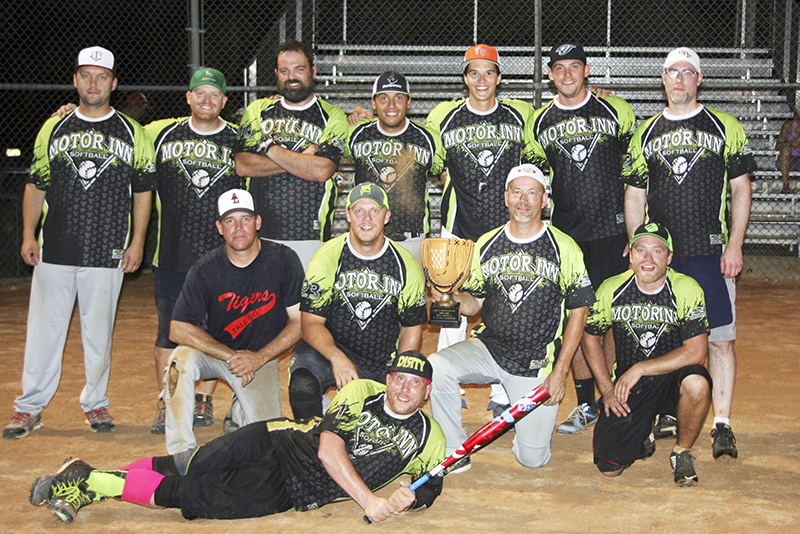 The Motor Inn men's softball team won the Men's B League championship. In front is Kyle Benton. In middle, from left, are Mike Piechowski, Jeremy Griffith, Jon Folk and Trevor Bellrichard. In back, from left, are  Josh Diaz,  Dylan Schroeder, Micah Hrdalo, JT Bellrichard, Nick Dulas, Adam Kirsch and Doug Griffith. Provided