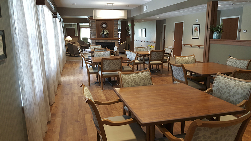 A dining room and free space in one of St. John's Lutheran Community's new buildings - Henry Rohlf/Albert Lea Tribune