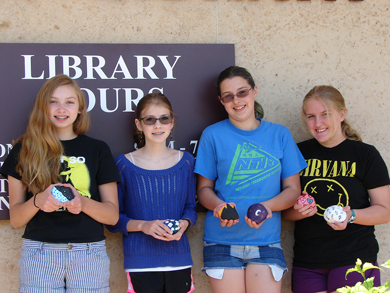The Albert Lea Public Library's teen book club recently painted rocks for the Albert Lea Rocks community art project. Members include, from left, Julia Dyvig, Ava Corey-Gruenes, Trinity Johnson and Jenny Mulholland. - Provided