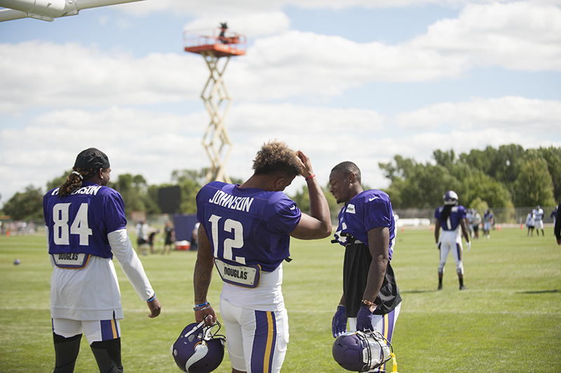 Minnesota Vikings wide receivers Cordarrelle Patterson (84), Charles Johnson (12) and Stefon Diggs share a laugh before afternoon practice Friday. Jarrod Petersion/Albert Lea Tribune