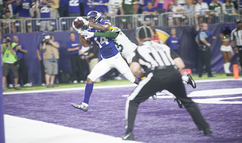 Minnesota wide receiver Stefon Diggs hauls in a touchdown over Green Bay's Micah Hyde in the third quarter. Jarrod Peterson/Albert Lea Tribune.