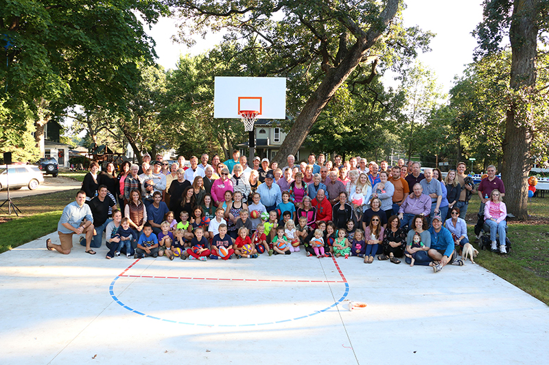 The basketball hoop was dedicated for Ryan Moore at the 67th annual Oakwood Neighborhood Picnic. -Provided