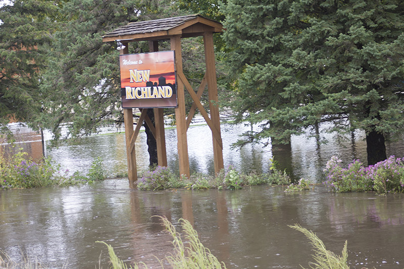 Water rose substantially above normal water levels Thursday after torrential rain brought flooding to the region. — Sam Wilmes/Albert Lea Tribune