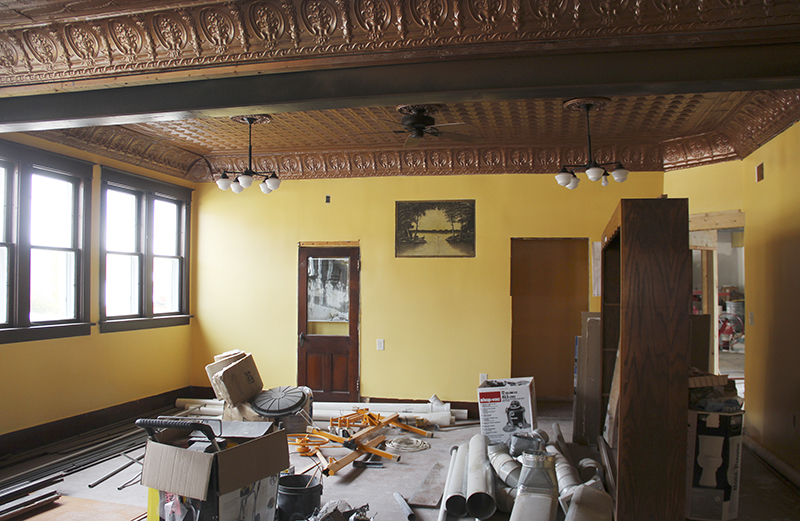 Walls have been refinished and the ceiling restored at the building in New Richland. - Sarah Stultz/Albert Lea Tribune