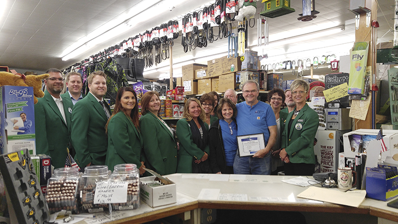Albert Lea-Freeborn County Chamber of Commerce Ambassadors visit Fleet Farm Supply of Albert Lea to celebrate its 60th year of business and its induction to the Freeborn County Agriculture Hall of Fame. - Provided