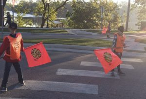 Lakeview Elementary School safety patrol members help students cross the streets safely before and after school. Provided