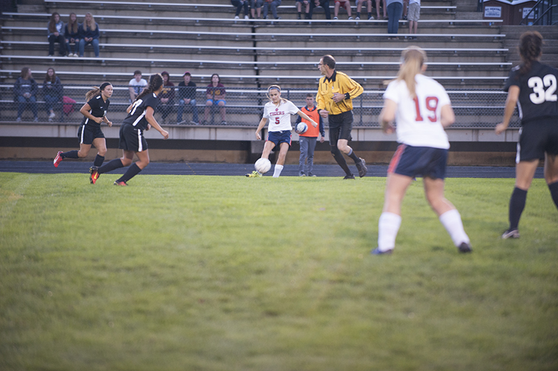 Albert Lea's Claire Sherman looks for a teammate in a recent soccer game at Hammer Sports Complex. Sherman scored two goals in Monday's victory over Stewartville. Jarrod Peterson/Albert Lea Tribune