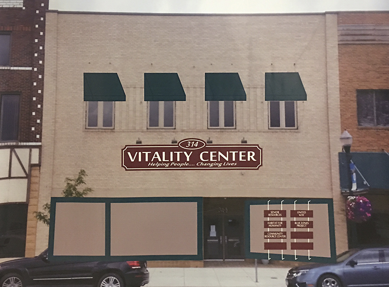 Plans are to rename the building at 314 S. Broadway as the Vitality Center. The building houses offices for Senior Resources, Habitat for Humanity, United Way of Freeborn County, Community Resource Center and the Blue Zones Project. Provided
