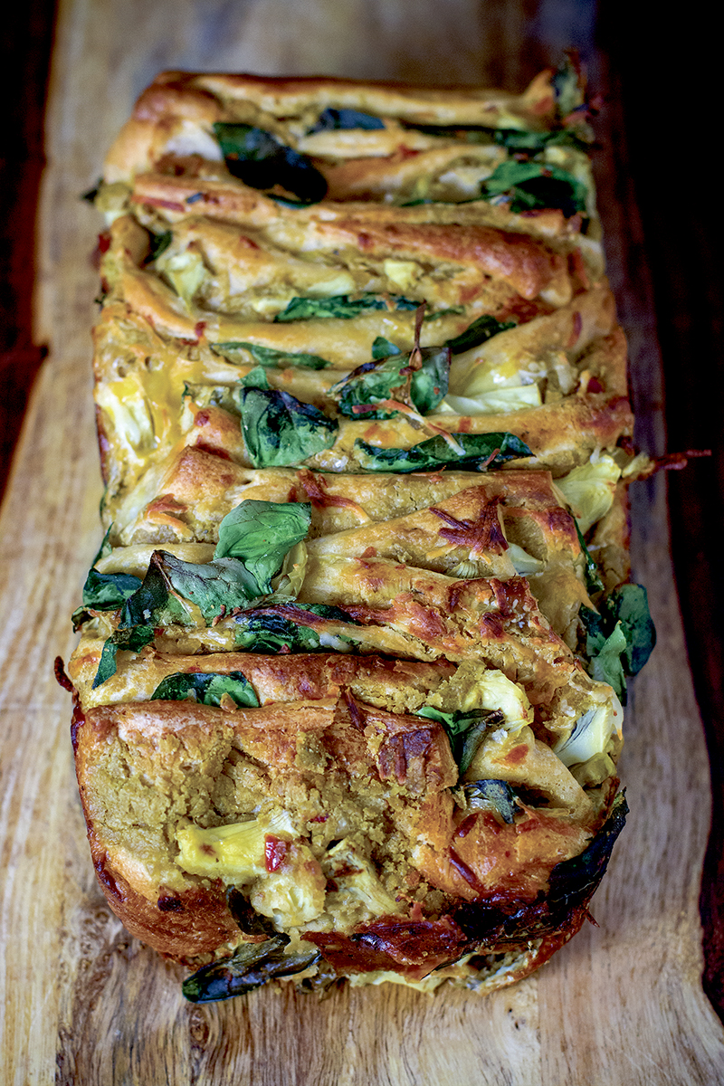 Spinach and Artichoke Hummus Pull Apart Bread