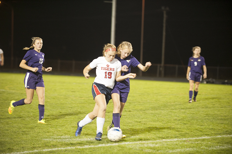 Albert Lea's Sydney Nelson tries to get past New Ulm's Kaye Rysdahl in the second half of Monday's first-round section game at Hammer Sports Complex.