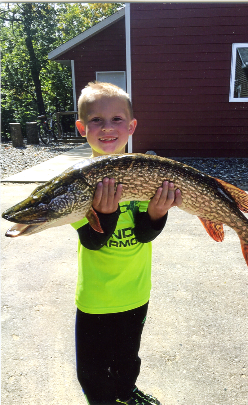 Nathan Herr caught this 32-inch northern on Leech Lake at Pikesdale Resort when he was fishing with hit grandfather, Nordean Krueger, on Sept. 3. Provided