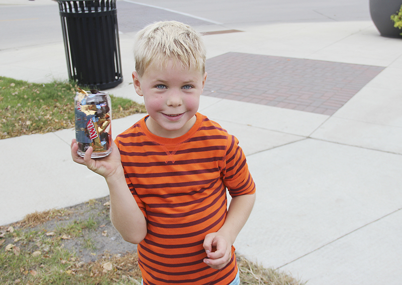 Kai Olson, 7, was the first child to finish the Splash Dash 5k on Saturday. Provided