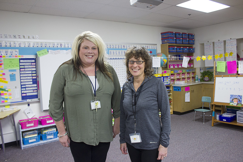 Second-grade teacher Taylor Meaney was assisted in her first year at the district by mentor coordinator Pam Jacobsen. — Sam Wilmes/Albert Lea Tribune