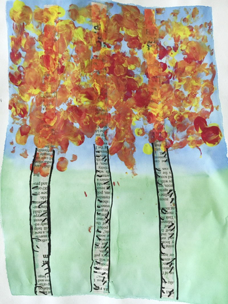 Third-graders made birch tree paintings similar to the above objective. - Provided