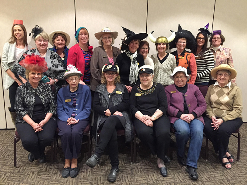 Lakeview Lions Club members demonstrate their Halloween spirit by wearing wacky hats to their Oct 25 meeting. - Provided