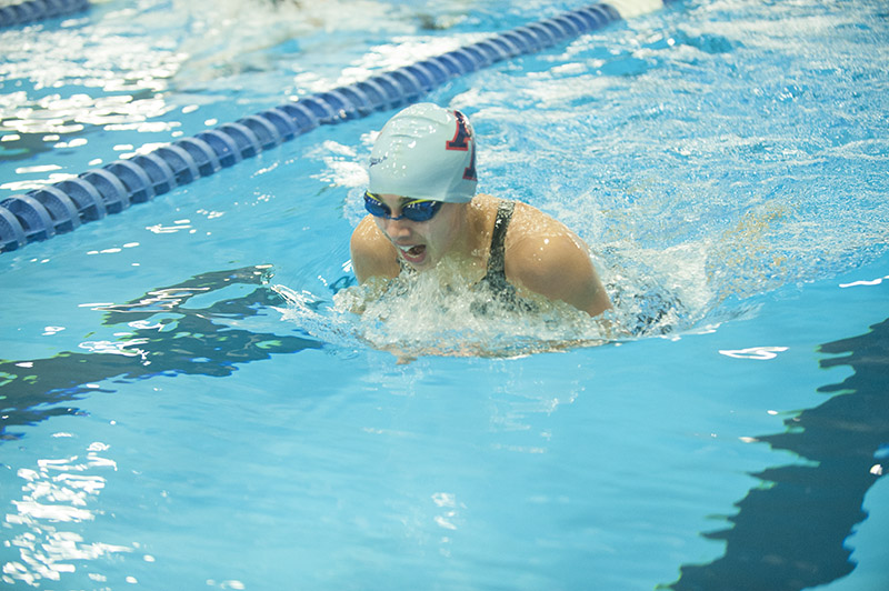 Albert Lea eighth-grader Jaeda Koziolek swims during her 200 individual medley relay. She qualified for the state meet in the 100 backstroke.