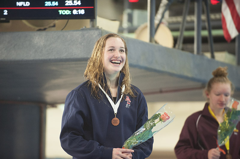 Albert Lea sophomore Emily Taylor was all smiles after earning a spot in the state meet in the 50-yard freestyle. She came in third place and qualified with a time of 24.87. She also qualified in the 100 breaststroke. Jarrod Peterson/Albert Lea Tribune