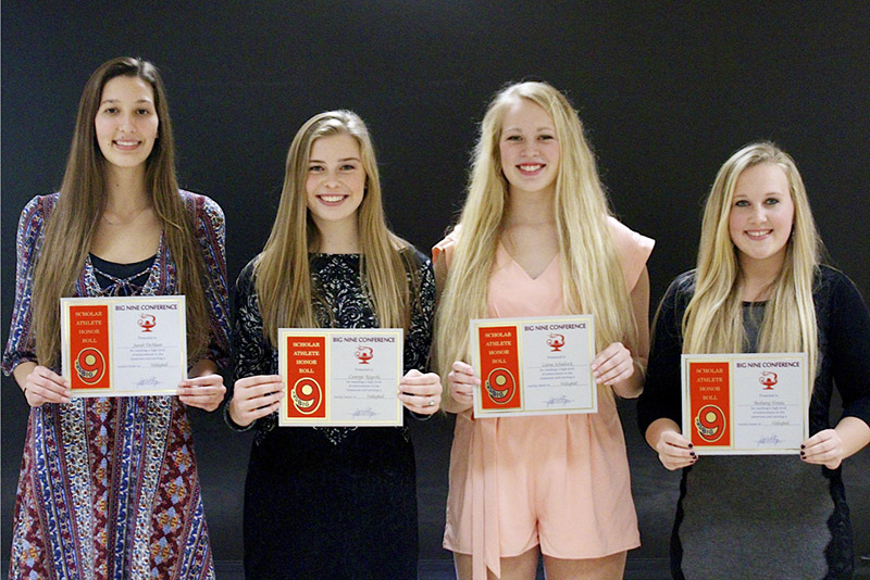 From left, Albert Lea volleyball players Sarah DeHaan, Camryn Keyeski, Liana Schallock and Bethany Tennis received recognition from the Big Nine Conference and were placed on the Scholar Athlete Honor Roll. Provided