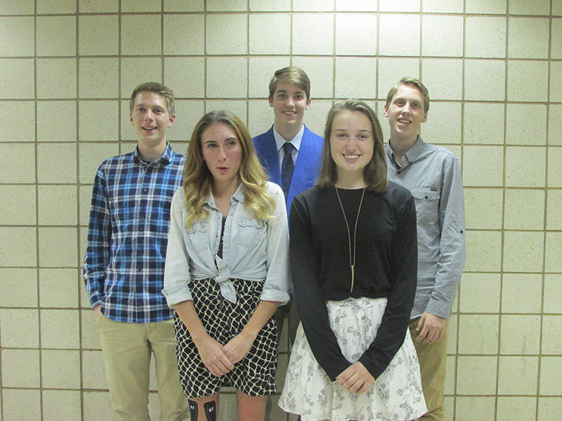 From left, front row, Autumn Muilenburg and Allison Christenson were named captains for the 2017 girls' cross country team. From left, back row, Will Kreun, Jens Lange and Joe Kreun were named captains for the 2017 boys' cross country team.
