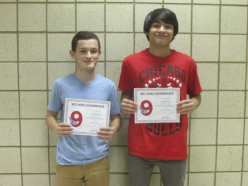 Albert Lea cross country runners Leo Olveda and JV Moreno received Big Nine All-Conference honorable mention.Provided