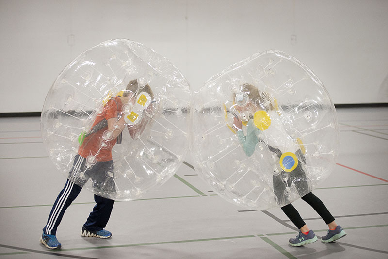 For $5, children were able to play bubble ball Friday at the Albert Lea Family Y. Colleen Harrison/Albert Lea Tribune