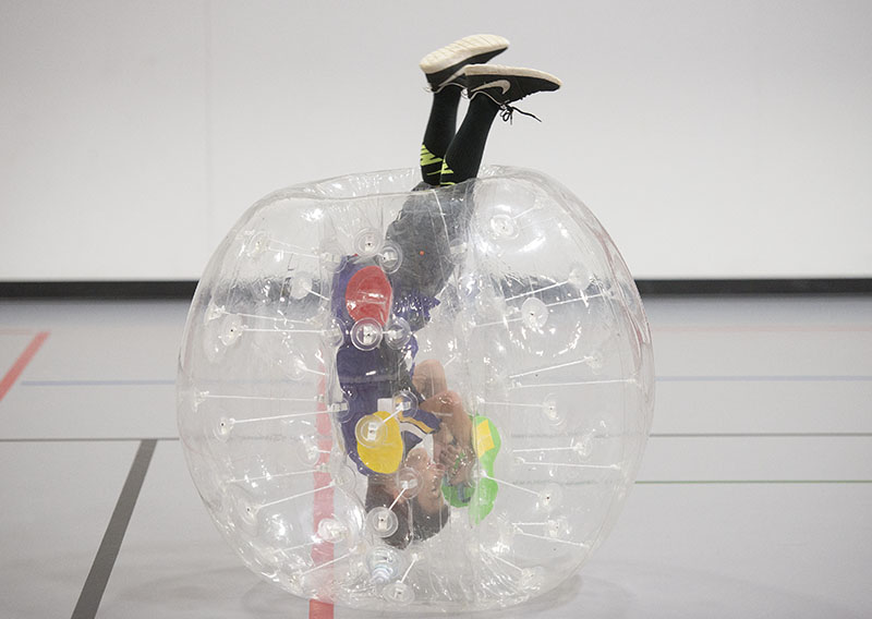 Children ages 7 to 15 were able to partake in bubble ball on Friday. Colleen Harrison/Albert Lea Tribune