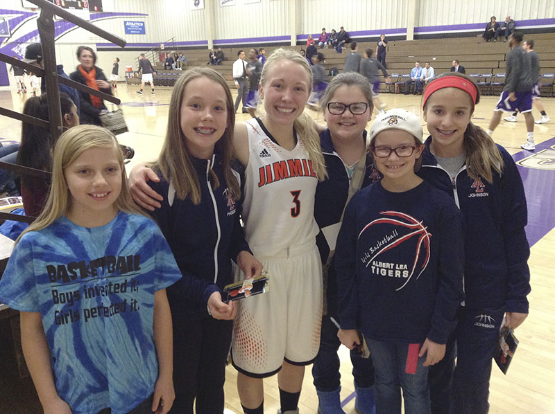 From left, Elizabeth Wallace, Phoebe Holst, Bryn Woodside, Alex Funk, Alexis Jones and Kayla Johnson pose for a picture after the game. Woodside is a former Albert Lea girls' player and she scored 13 points in Jamestown College's win over Waldorf College Saturday in Forest City, Iowa. Provided