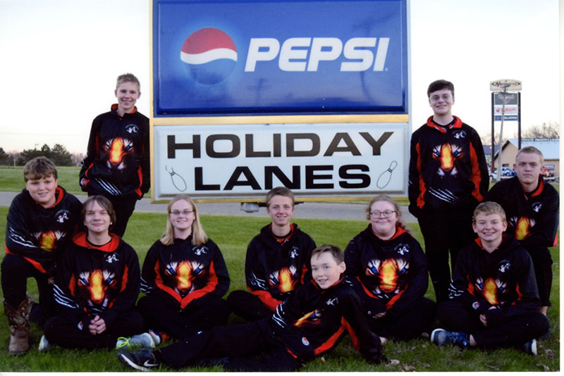 The Albert Lea bowling team posed for a picture outside of Holiday Lanes in Albert Lea. From left, front row Ethan Attig, Spencer Larson, Cassie Deal Rasmussen, Scott Gilbertson, James Amarosa, Tiffany Hallisy and Brandon and Caden Reichl. Back row, from left Blake Grunzke and Landon Kirchner. Not pictured is Nick Olson.