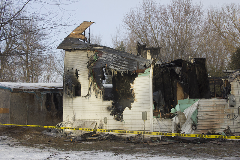 The inside of the home was gutted by the fire Tuesday night in Gordonsville. - Sam Wilmes/Albert Lea Tribune