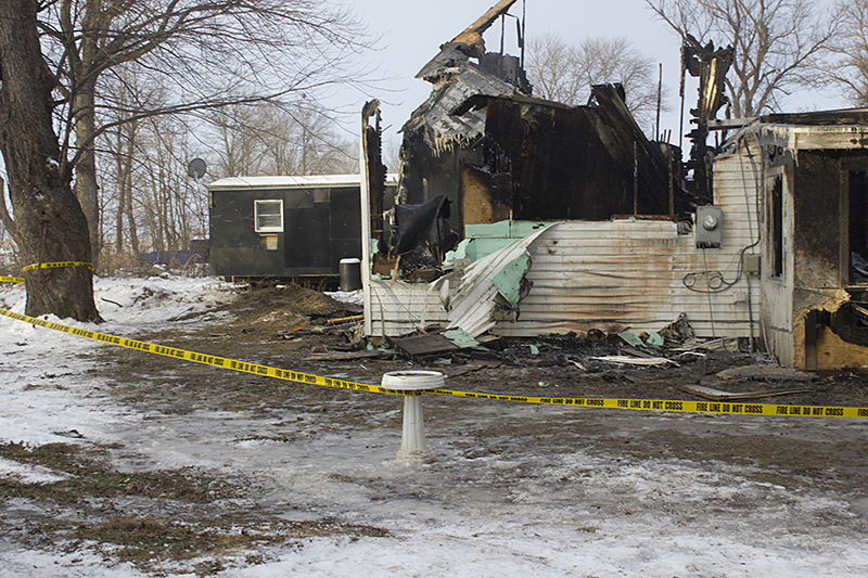 Walls were destroyed in the house fire that is believed to have started from wiring and space heaters. - Sam Wilmes/Albert Lea Tribune