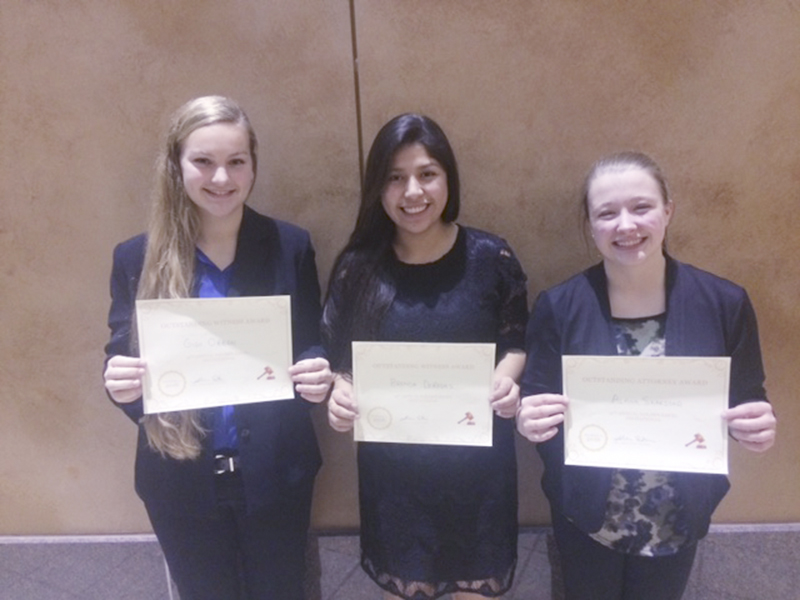 Three students were recognized for their performances. Alana Skarstad was recognized as an outstanding attorney and Brenda De Rosas and Gigi Otten were recognized as outstanding witnesses. The mock trial team travels to Owatonna today for a scrimmage with the Huskies. - Provided