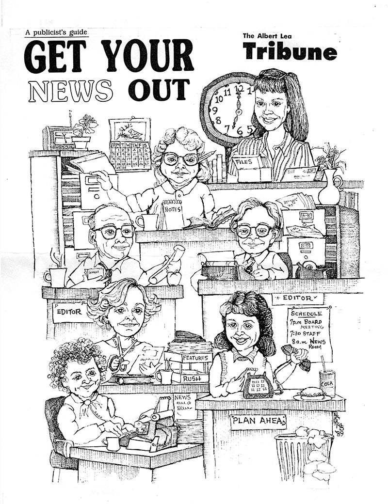 This drawing by Albert Lean Eloise Adams included the late Ed Shannon, middle left, and Geri Murtaugh, bottom right. - Provided