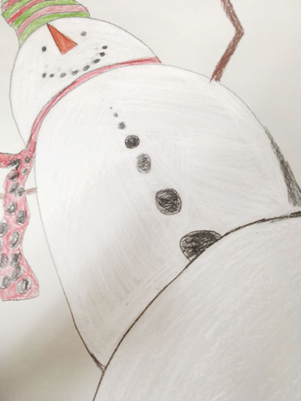Sibley Elementary School fifth-grader Francisco Ali Lopez made this snowman work of art. - Provided