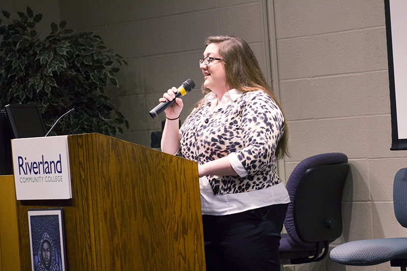 """Cassi Schreiber performs a Finlandia """"Song of Peace"""" Monday during the Martin Luther King Jr. celebration at Riverland Community College. – Sam Wilmes/Albert Lea Tribune"""