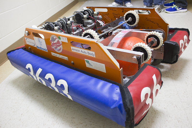 The Albert Lea robotics team builds robots to learn and to use in competition. A robot used in past competition is shown here. — Sam Wilmes/Albert Lea Tribune