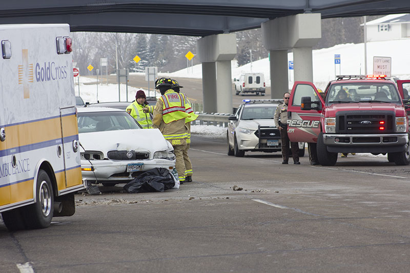 Injuries were reported from a vehicle crash Monday at the intersection of Minnesota Highway 13 and Interstate 90. — Sam Wilmes/Albert Lea Tribune