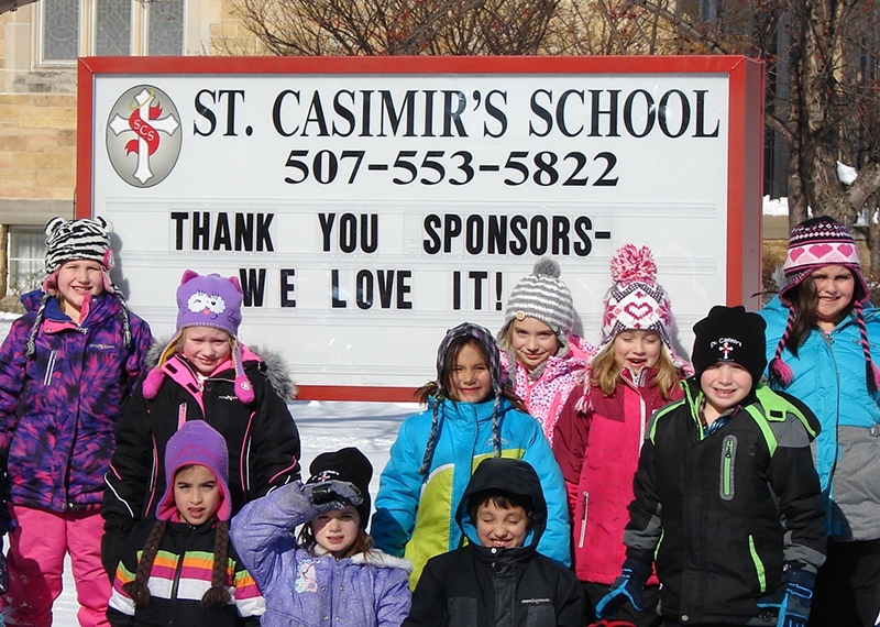 St. Casimir's School has installed a new sign in front of its facility. The sign was paid for by donations from private individuals and businesses. - Provided