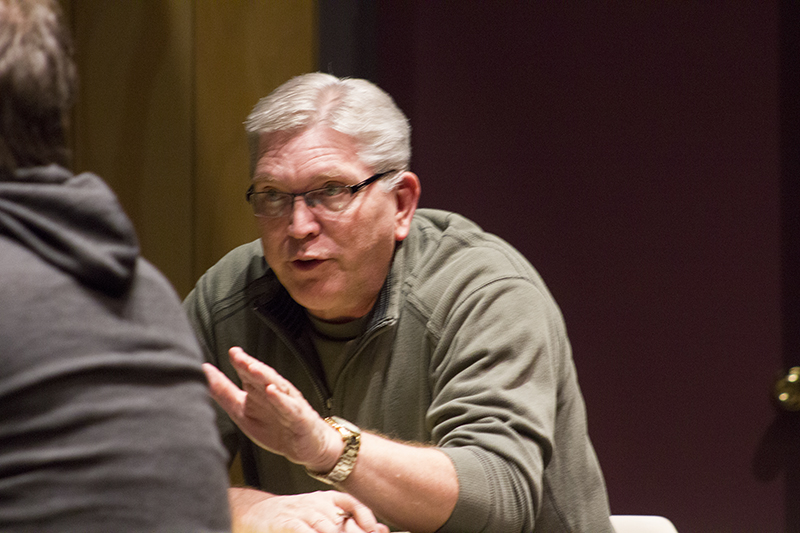 """Jury Foreman Gary Schindler talks during jury deliberations of a man charged in the fatal stabbing of his father during rehearsals for """"Twelve Angry Jurors"""" on Tuesday. — Sam Wilmes/Albert Lea Tribune"""