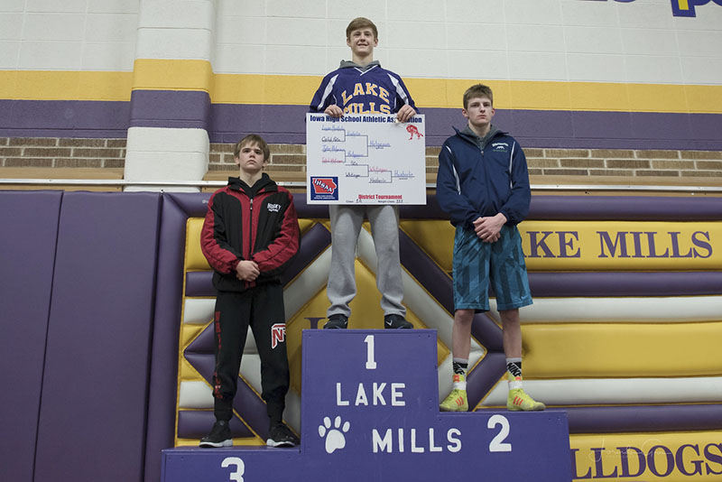 Lake Mills wrestler Tyler Helgeson took first place in his weight class.