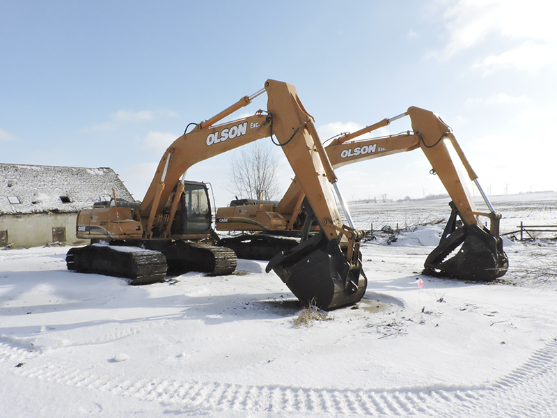 Olson Excavating in Hartland uses a wide varies of excavation equipment, which allows them to tackle jobs of almost any size. During the winter, however, most of the equipment is stored on or offsite. Kelly Wassenberg/Albert Lea Tribune